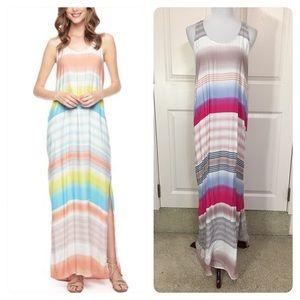 Splendid Tropical Stripe Maxi Dress